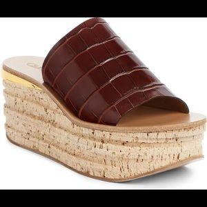 Chloe Camille Croc Embossed Cork Plat Wedge Sandal